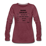 MARINE CHECKLIST WOMENS LONG SLEEVE - heather burgundy