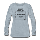 MARINE CHECKLIST WOMENS LONG SLEEVE - heather ice blue