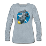 DEATH FROM ABOVE WOMENS LONG SLEEVE - heather ice blue