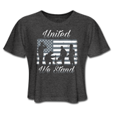 UNITED WE STAND CROP TOP - deep heather