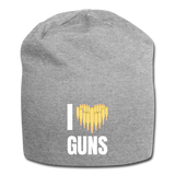 I LOVE GUNS BEANIE - heather gray