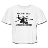 ATTACK HELICOPTER CROP TOP - white