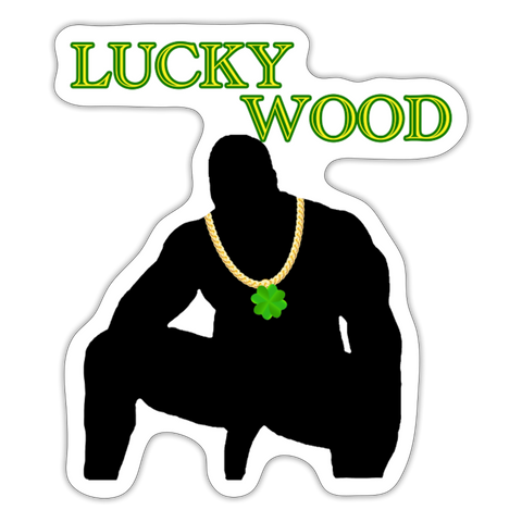 LUCKY WOOD STICKER - white matte