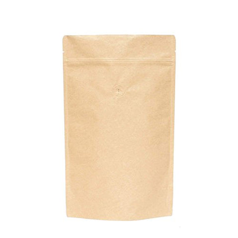 Awepackage High Barrier Natural Kraft Paper Stand Up Zipper Coffee Pouch Bag With Valve (25, 16 Oz)