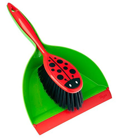 Vigar Ladybug Dust Pan And Brush Handy Set, 12-3/4-Inches, Green, Red, Black