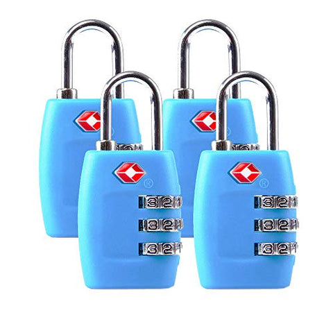 Tsa Luggage Locks (4Pack) - 3 Digit Combination Padlocks - Approved Travel Lock For Suitcases &Amp; Baggage (Blue)