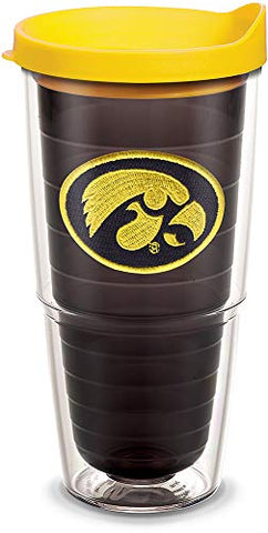 Tervis 1077657 Iowa Hawkeyes Logo Tumbler With Emblem And Yellow Lid 24Oz, Quartz