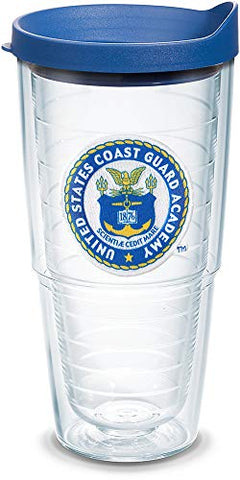 Tervis 1086316 Uscga Bears Logo Tumbler With Emblem And Blue Lid 24Oz, Clear