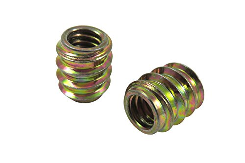 Taytools 468600 1/4-20 Threaded Inserts, Allow Steel, Zinc Plated, 3/8  Pilot Hole, Overall Length 15/32