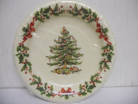 Spode Garland Tree Coated Paper Disposable Luncheon / Dessert Size Plates, Set Of 8