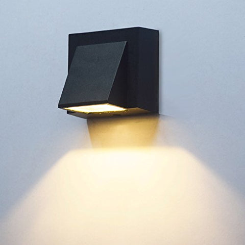 Brillraydo 3W Led Outdoor Exterior Wall Step Down Light Fixture Lamp Black Finish Warm White