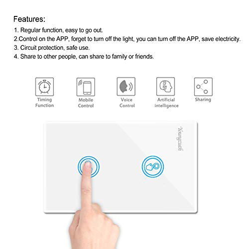 Youngzuth Compatible With Amazon Alexa Smart Wifi Light Switches Touch Wall  Switch Panel Replace 2 Switches In 1 Gang Wall Box Combination Work With