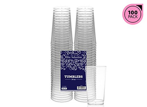 Elite Selection 14 Oz. Clear Hard Disposable Party Plastic Tumblers/Cups