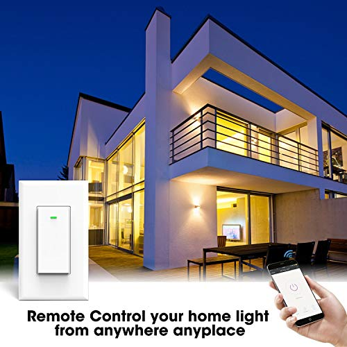 Smart Wifi Switch Light Wall Touch Remote Automatic Control Tuya Works With  Smartphone Amazon Alexa Google Assistant, Overload Protection 15 A No Hub