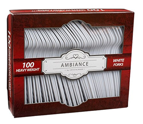 Crystalware, Heavy-Weight White Plastic Forks, Durable, Disposable, 100/Box