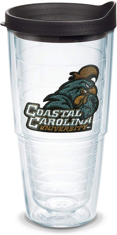 Tervis 1084926 Coastal Carolina Chanticleers Logo Tumbler With Emblem And Black Lid 24Oz, Clear