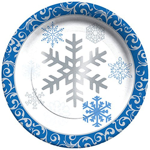 C.R. Gibson 8 Count Decorative Paper Lunch/Dessert Plates, Easy Clean Up, Measures 8  - Winter Snowflakes