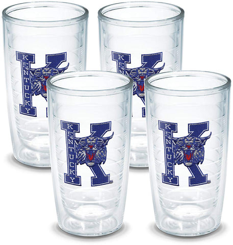 Tervis 1037953 Kentucky University Vault Emblem Tumbler, Set Of 4, 16 Oz, Clear