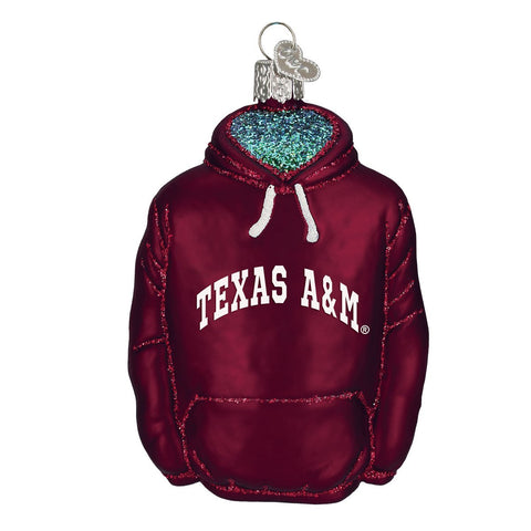 Old World Christmas Ornaments: Texas A&M Hoodie Glass Blown Ornaments For Christmas Tree