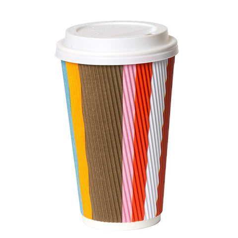 - 16 Oz To Go Coffee Cups With Lids - Disposable, Insulated & Recyclable Multicolor Ripple Paper Coffee Cups