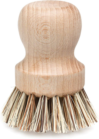 Redecker Natural Fiber Bristle Pot Brush, Comfortable Beechwood Handle, Durable Heat-Resistant Design For Cleaning Pots, Pans And More, 2-1/4 Inch Diameter, Made In Germany