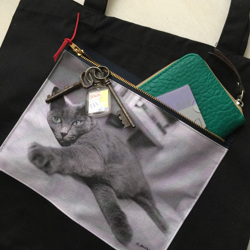 custom order  A pocket on Black tote bag