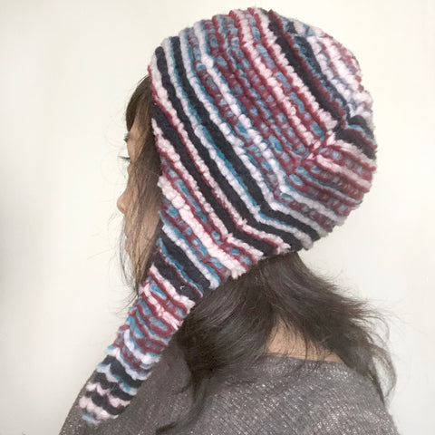 Wool hat Emma Pink Navy stripes Puffy hat