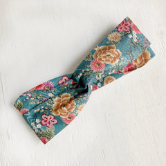 Japanese Kimono fabric Twist Headband, Blue Green New