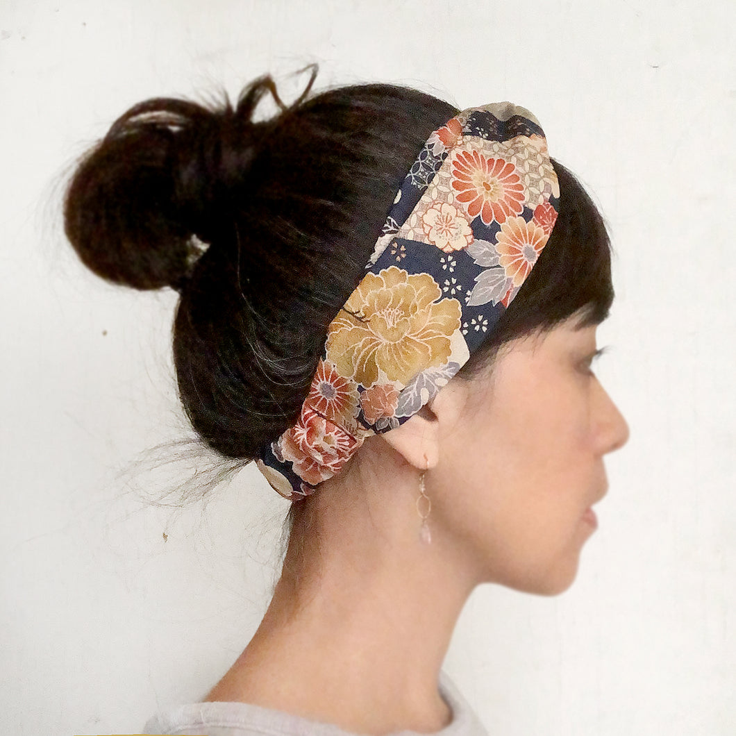 Japanese Kimono fabric Twist Headband, Navy Orange New