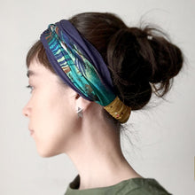 Knot headband Rusti - Green / Navy