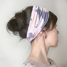Yoga headband - Stretchy Jersey -  Pink, Gray