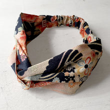 Japanese Kimono fabric, Cotton Twisted Headband, peach, Navy -  New Design