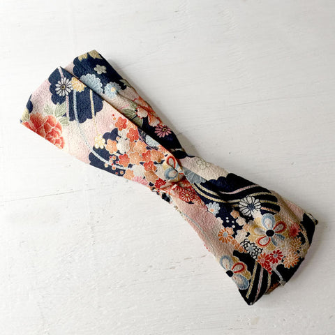 Japanese Kimono fabric, Cotton Twisted Headband, peach, Navy