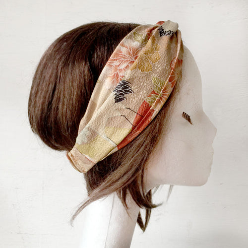 Japanese Kimono fabric Twist Headband, Sand -  New Design