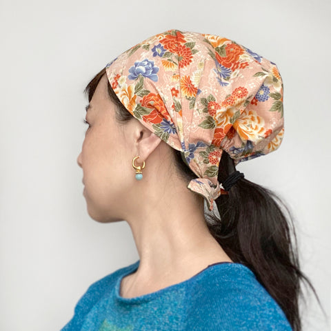 Hear cover scarf, Japanese Pink Flower
