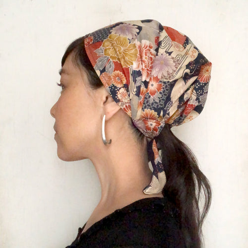 Japanese Kimono Fabric head covering, Navy