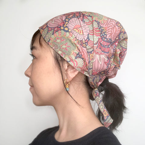 Pink Floral Head Covering Scarf