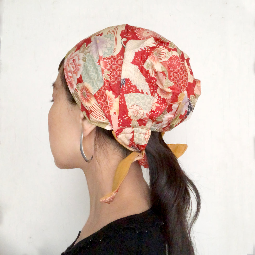 Japanese Kimono Fabric head covering, Red