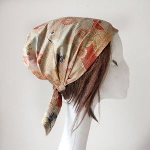 Japanese Kimono Fabric head covering, Sand - Head wrap