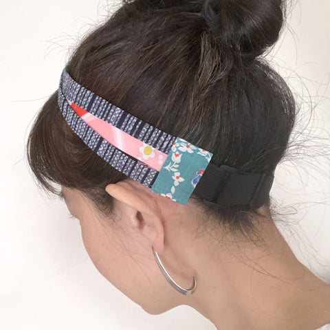 Japanese fabric triple headband, Adjustable Yukata cotton