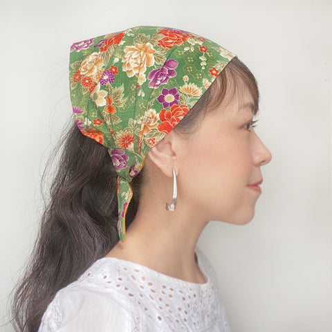 Japanese fabric head scarf, Green Floral