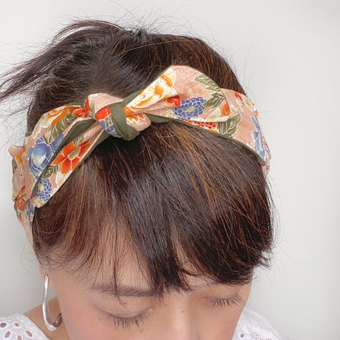 Japanese fabric head scarf, Pink Floral