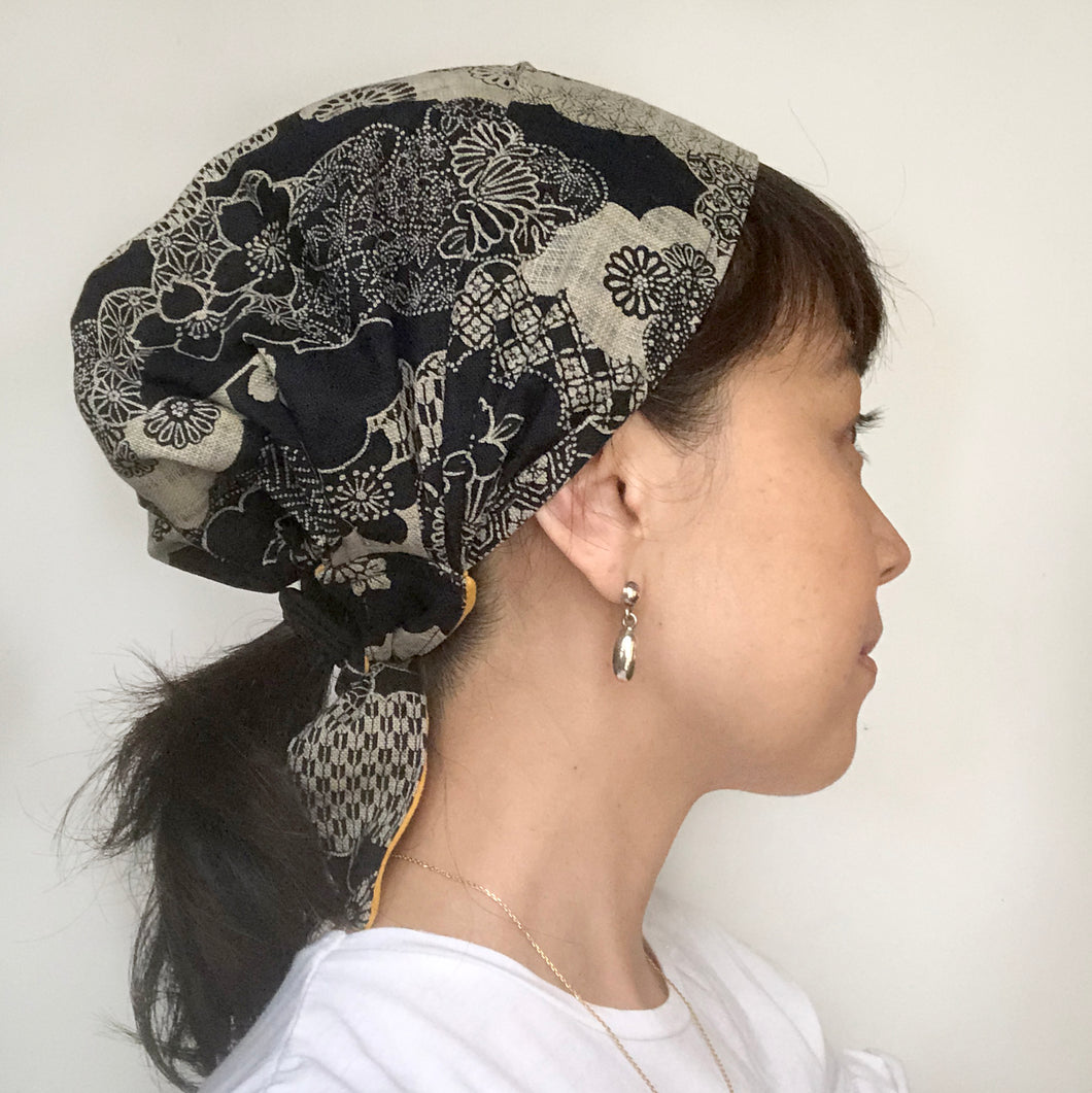 Japanese Flower Head Covering Scarf