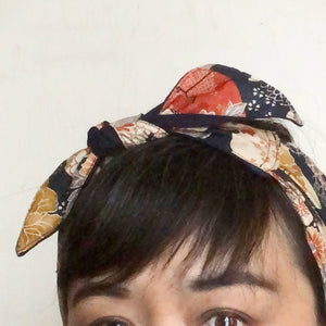 Japanese fabric head scarf, Navy crane New