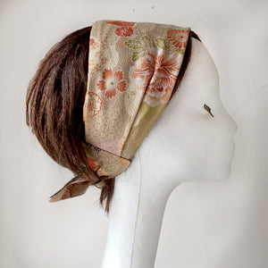 Hair scarf, Japanese Kimono fabric, Sand, floral, crane - Head wrap