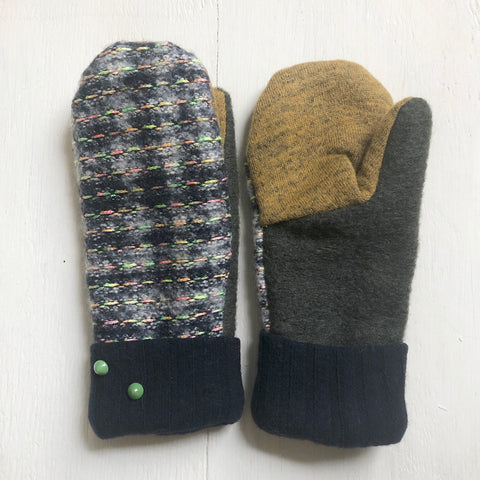 Mittens White Navy with Neon stiches