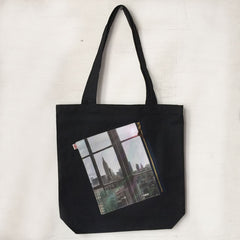 photo Zipper Pocket tote bag, Black, Empire state Building