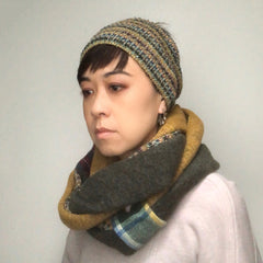 Triple loop neck scarf Yellow, Green