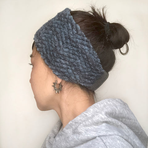 Wool Headband Ear warmer Blue Marbled