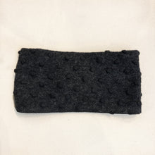 Winter Wide Headband Gray PomPom